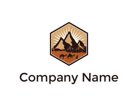 hexagon shaped desert logo