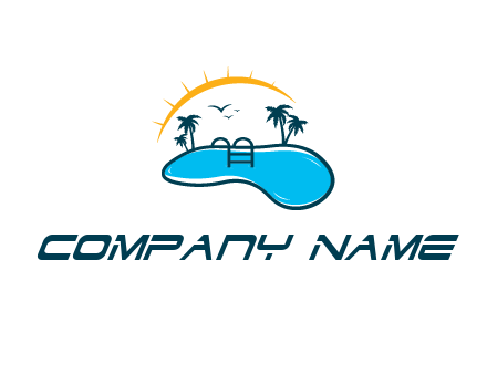 swimming pool logo with trees, birds and the sun