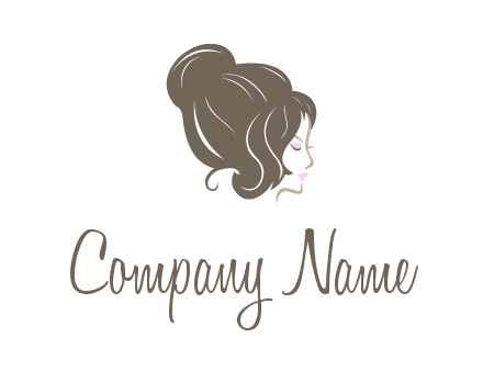 woman head with hair bun beauty logo icon