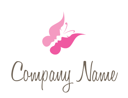 women faces in butterfly wings shape beauty logo