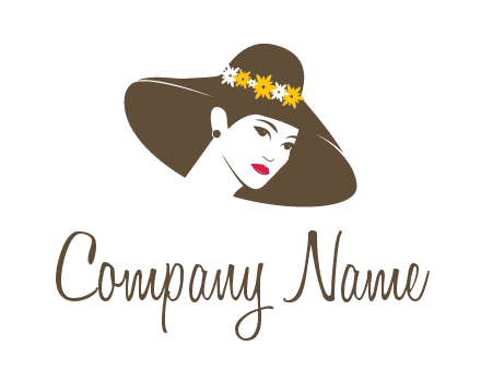 head of woman wearing flowers on fancy hat fashion logo icon