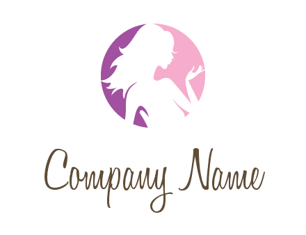 silhouette of woman body in circle beauty logo