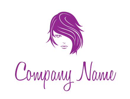 head of woman with short hair across face beauty logo icon