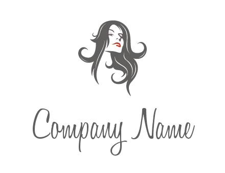 head of woman with long hair beauty logo icon