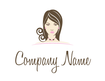 head of beautiful woman wearing bead earrings and necklace jewelry logo