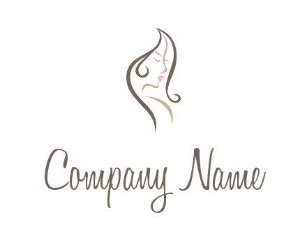 line art silhouette of woman profile beauty logo