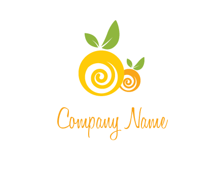korus in oranges with leaves food logo
