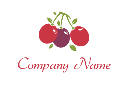 cherries with leaves food logo