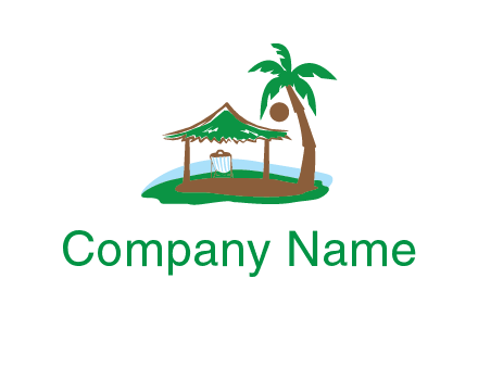 lounger under tent and palm tree on island travel logo icon