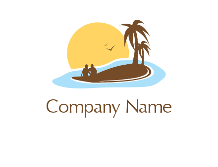 sun behind couple on island and palm trees travel logo