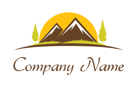 mountains with trees and sun travel logo
