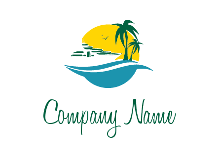cruise ship palm trees and sun travel logo