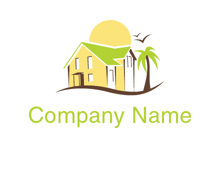 house on beach with palm tree and sun logo