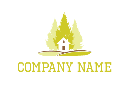 pine trees and house on hill logo