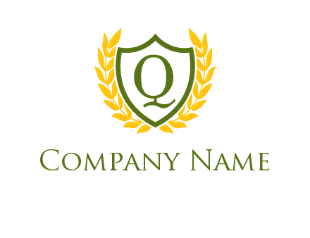 letter q inside emblem with olive leafs