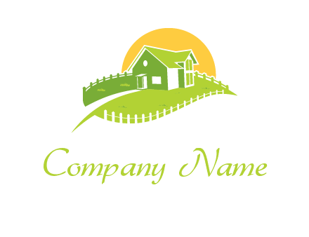 picket fence and sun behind farmhouse logo