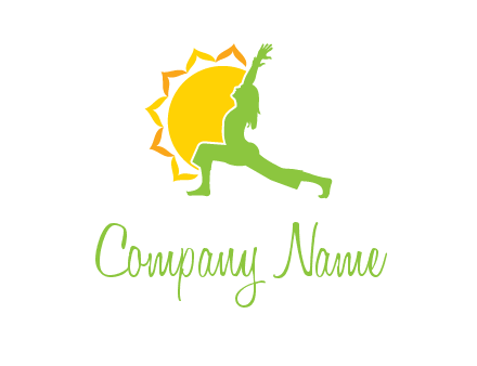 sun flower and woman bending in yoga pose logo