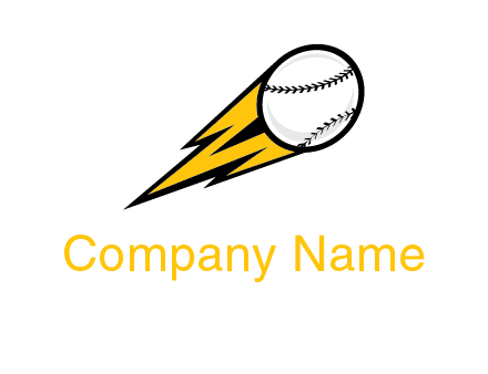 flying softball ball and lightning sports logo