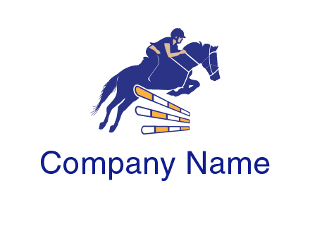 horse jockey over hurdle sports logo