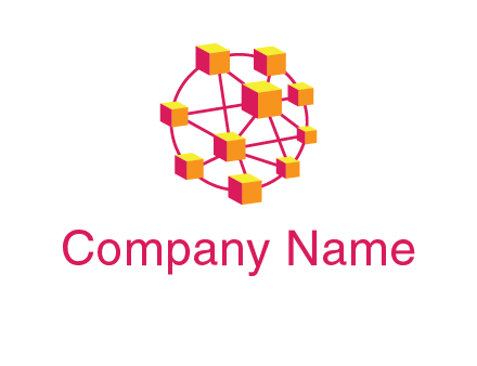 cubes and lines sphere communication logo