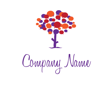 speech bubbles tree communication logo