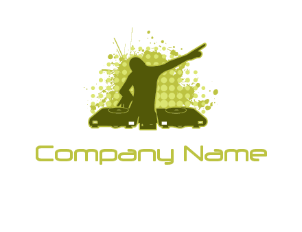 musician with disk jockey logo