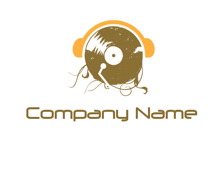 disc with headphones music logo