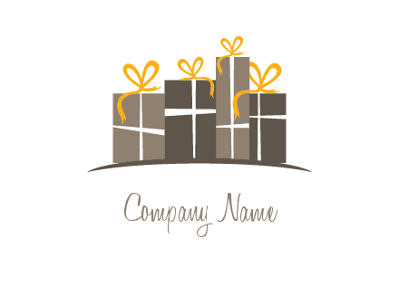 gift boxes with ribbon in a row logo
