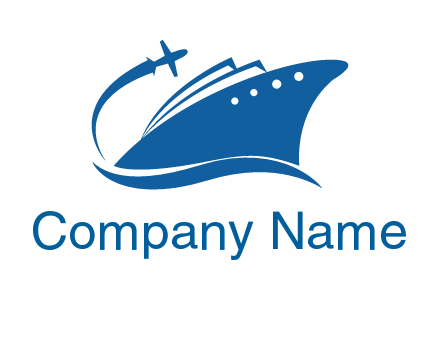plane flying over ship transport logo icon