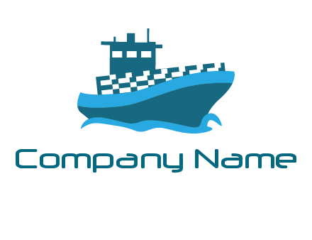 ship with deckhouse and waves shipping logo