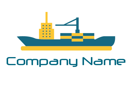 crane and deckhouse on consignment shipping logo icon