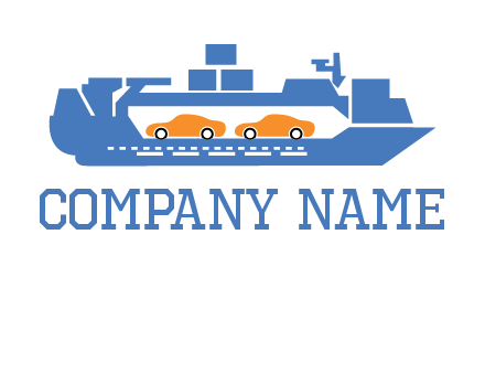 cars in ship transport logo
