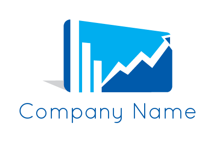 progressive bar and line graph rectangle finance logo
