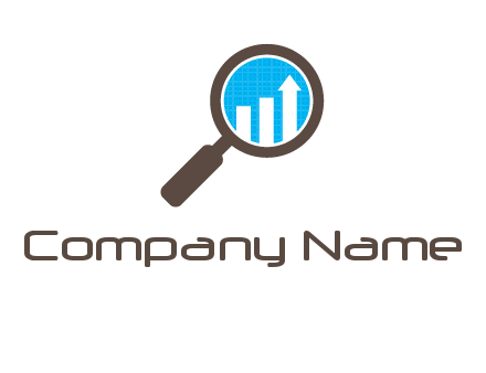 bar graph inside magnifying glass finance logo