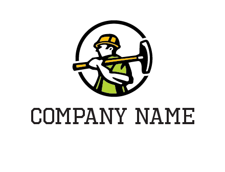 outline man holding axe in circle construction logo