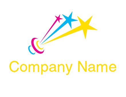 satellite colorful shooting stars printing logo