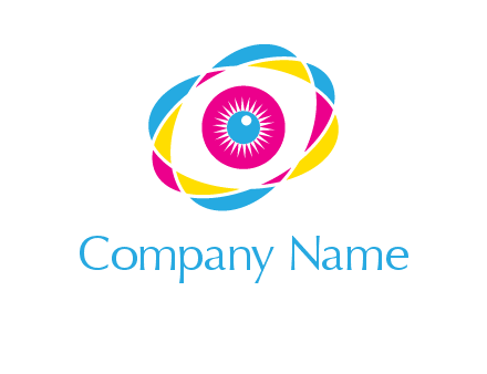 colorful abstract oval eye in center printing logo