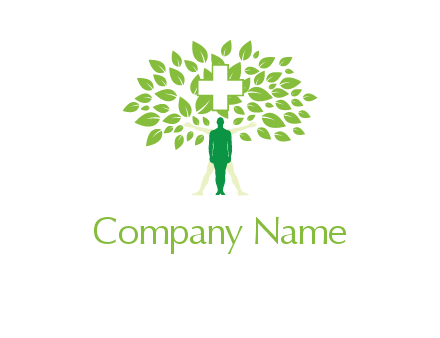 man standing under cross and tree leaves medical logo