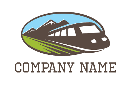 mountains and bullet train in oval illustration logo