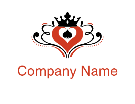 spade heart and crown ornament logo