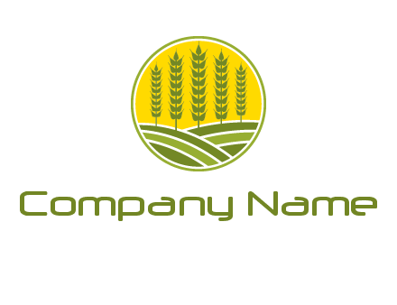 upright wheat stalks farm logo