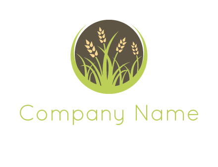 wheat stalks and grass in circle agriculture logo