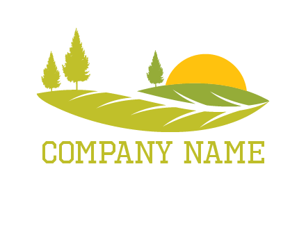 sunset over pine trees and farm logo