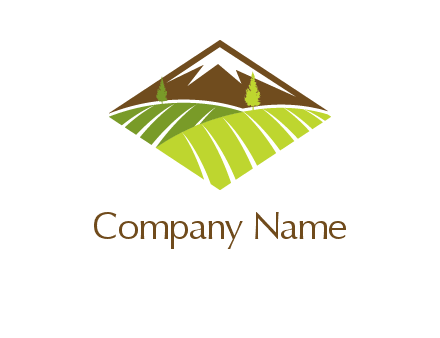 farm fields and mountain agriculture logo