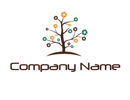 camera shutters on tree branches photography logo