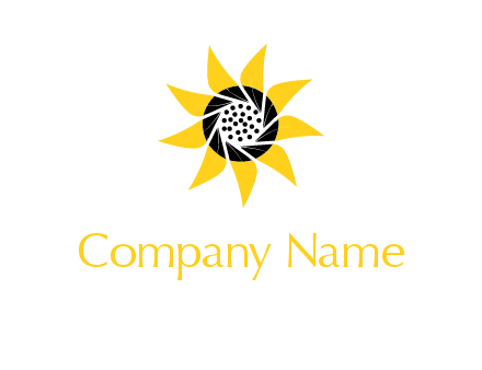 camera shutter in sunflower photography logo
