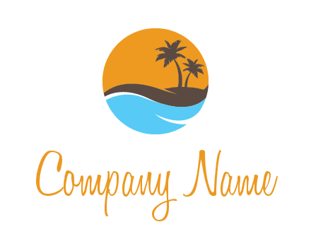 palm trees and waves in circle travel logo