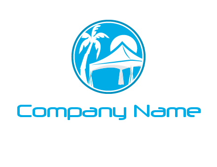 palm tree and tent in circle travel logo