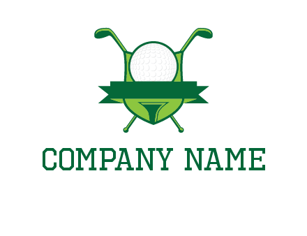 golf ball on tee in front of crossed golf clubs monogram