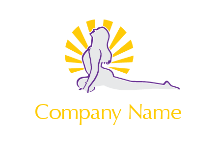 woman stretch on floor fitness logo